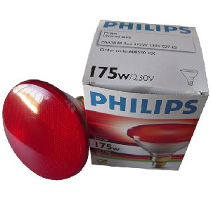 Philips Heat Lamp 175 watt White-Red PAR, p/12