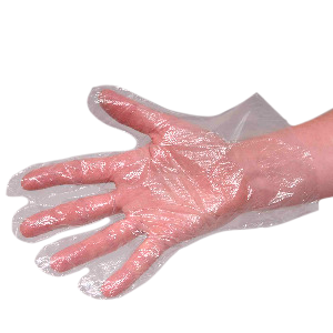 Disposable pre-collection plastic gloves.