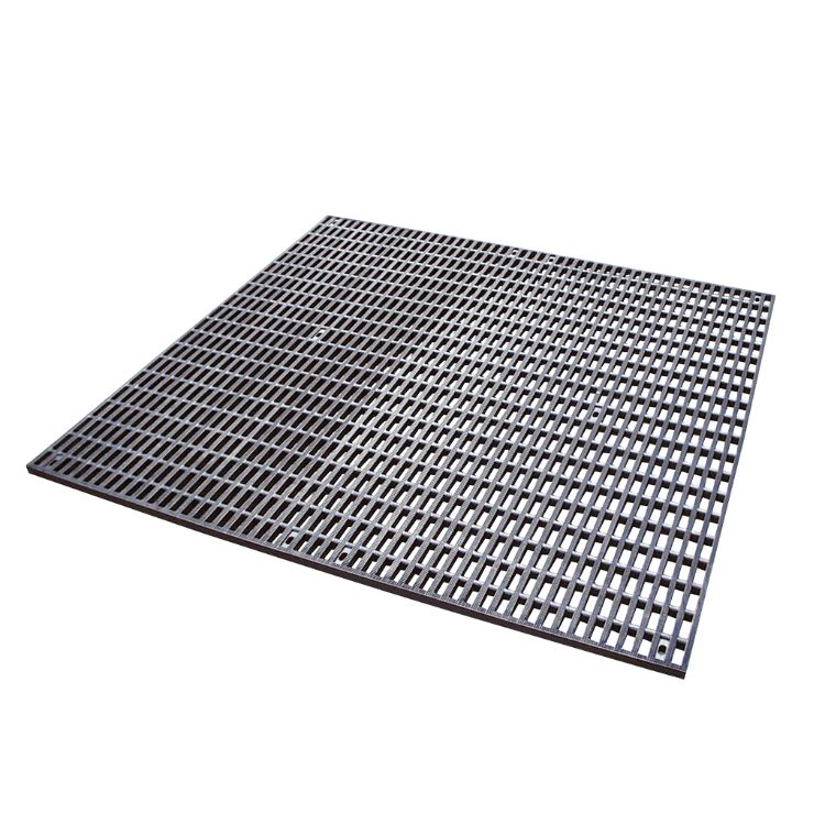 Rubber mat with rectangular openings
