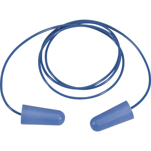 Bag of 10 pairs of detectable polyurethane earplugs with plastic cord. 10 units