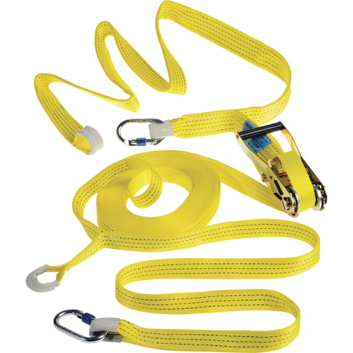 Temporary horizontal lifeline with certified strap for 2 people