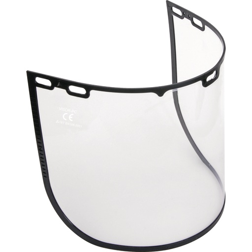 Pack of 2 clear polycarbonate visors with plastic edge