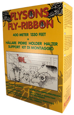 Fly-Ribbon, ruban attrape-mouches 400 m + kit de montaje