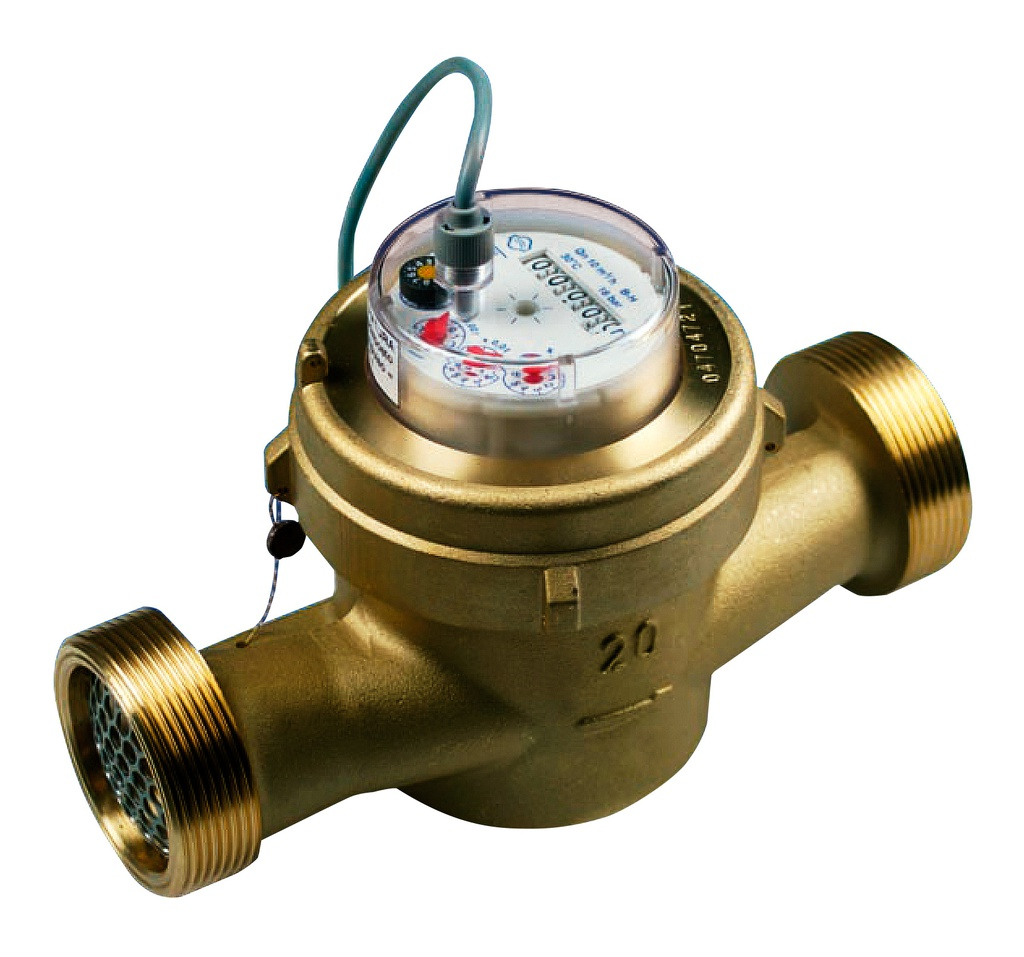 "4-pulses/litre water meter, 1"" 1/2 dry sphere for water up to 90ºC"