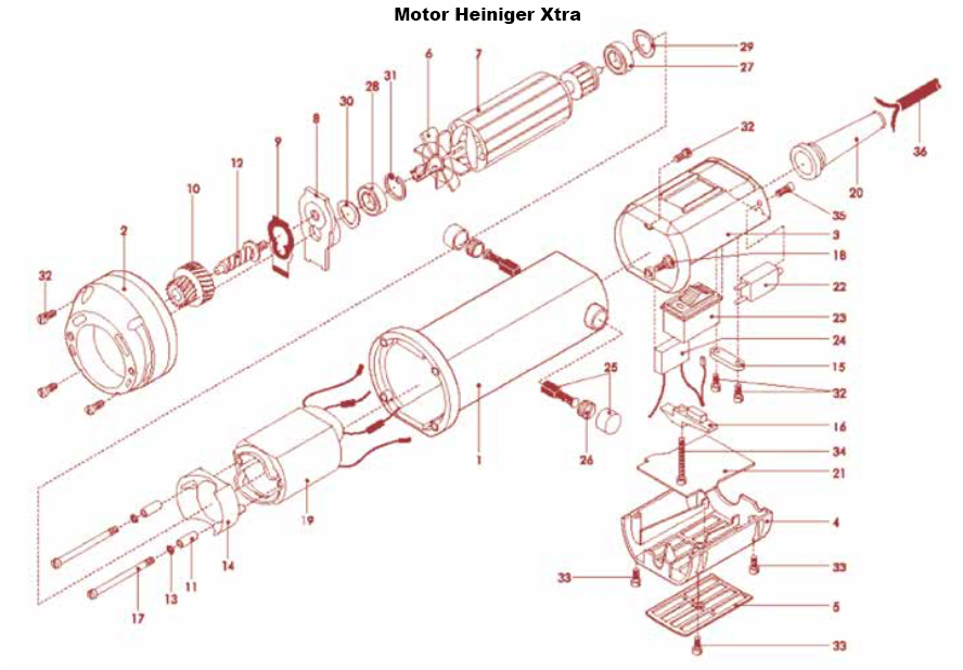 14: Replacement for Heiniger XTRA clipper motor
