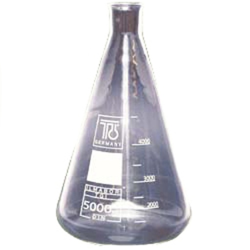 Frasco Erlenmeyer, 5.000 ml, cristal, cuello normal