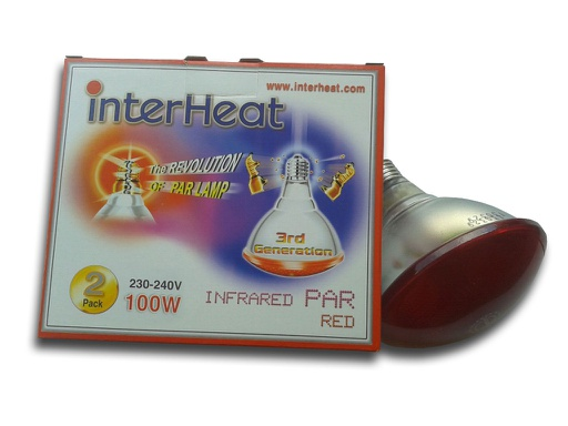 Bombilla Interheat 100W Roja PAR, 2 uds