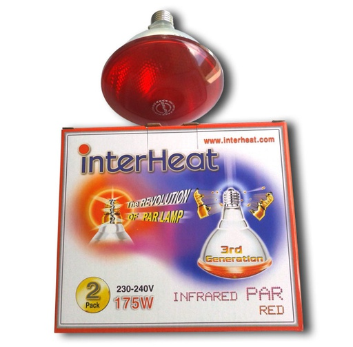 Bombilla Interheat 175W Roja PAR, 2 uds